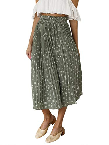 Fashiomo Women's High Waist Chiffon Floral Ruffle Pleated Midi Skirt Green,S ()