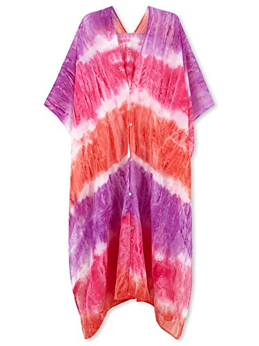 (Moss Rose Chiffon Kaftan Long Beach Cover Up with Buttons and Floral Print (Pink Tie-Dye Print))