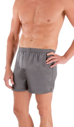 TexereSilk Men's 100% Silk Dress Boxers (Board Room, Zinc, L) Best ()