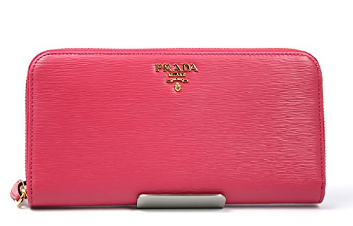 Prada Women's Pink Saffiano Leather Long Wallet 1ml506 Peonia Zip Around
