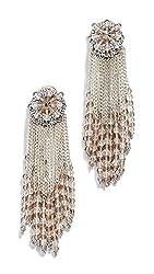 Oscar De La Renta Women S Chain Cluster Beaded Earrings Crystal Silver One Size