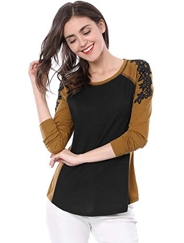 Fleur Col Manches Couleurs Braun Rond Basic Haut T Femme Confortable T Mlanges Printemps Fit Qualit Shirt Vetement Longues Elgante Shirt Haute Shirts De Mode Brode Slim 4Y8xOP4