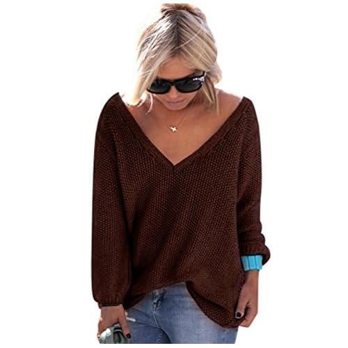 8acd833a933 Suéter Jersey Jerseys de Punto Mujer Sueter Cuello V de Dama Sueteres  Prendas de Punto Sueters