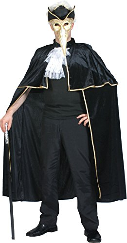 Adult Halloween Highwayman Fancy Dress Party Venetian Black Cape With Gold (Highwayman Costume)