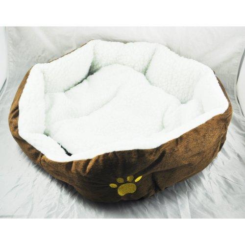 TOOGOO - Cama felpa para perros y gatos - Casa para mascotas - Color marrón
