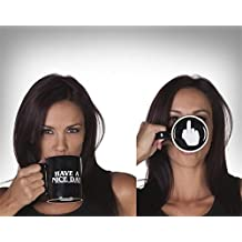 """Funny Design Coffee Mugs Tea Cups Ceramic Mugs """"Have A Nice Day"""" """"Fuck You"""" With MIddle Finger on Bottom 350ml Best Gift for Friends"""