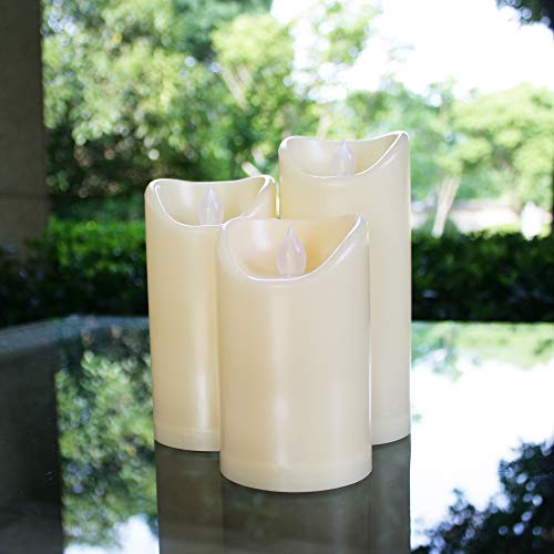 Outdoor Waterproof Flameless LED Pillar Candles with Timer Battery Operated Electric Plastic Flickering Decorative Fake Candle Lights for Home Garden Wedding Birthday Party Décor Gift Choice 3-Pack from Qidea