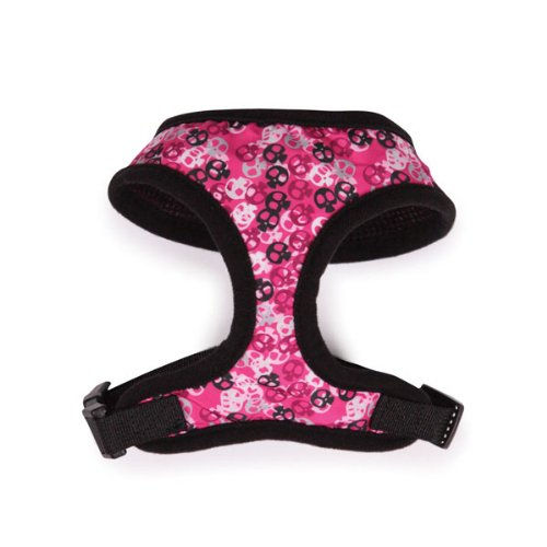 Casual Canine Polyester/Nylon Bone Heads Dog Harness, Small, Pink