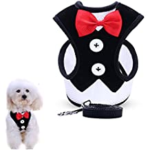 uFashion3C Dog Harness and Leash Set With Fancy Dress Red Bow Tie and Black Vest for Puppies and Smaller Dogs (Medium, Black)