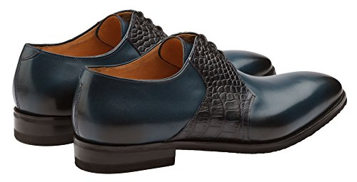 Scarpe Dapper Co. Mens In Vera Pelle Artigianale Classica Ala Brogue In Pelle Oxford Stringate In Fila Vestito Perforate Scarpe Blu Navy