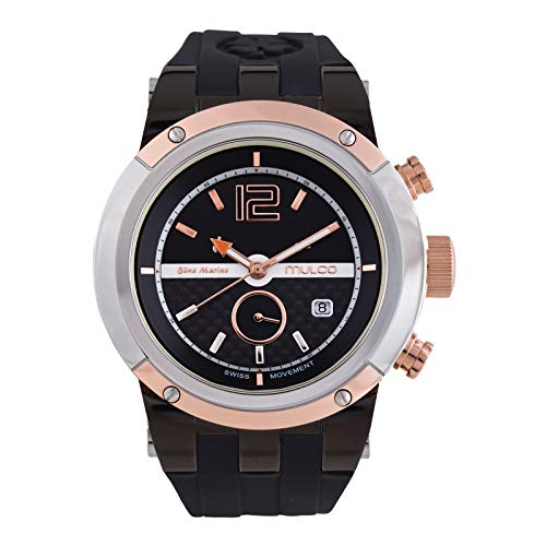 Mulco Watches for Women Bluemarine Glass Rose Gold Analog Watch with Orange and Black Case, Black Silicone Band