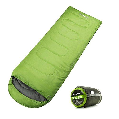 KingCamp Envelope Sleeping Bag 4 Season Lightweight Comfort with Compression Sack Camping Backpack 26F/-3C (Season Green)