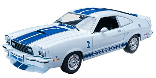 1976 Ford Mustang Cobra II Charlie's Angels (TV Series 1976-1981) White with Blue Racing Stripes 1/18 by Greenlight 12880 ()