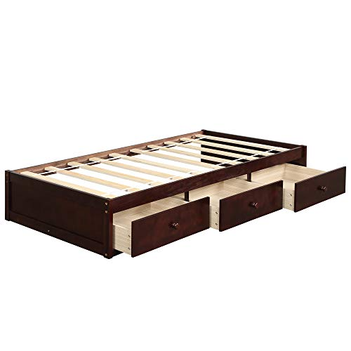 Bed Frame Twin 500 LB Heavy Duty,JULYFOX Daybed with 3 Drawers No Headboard No Box Spring Need Sturdy Pine Wood Construction Space Saving Low Profile for Kids Teens Juniors Single Adults Brown