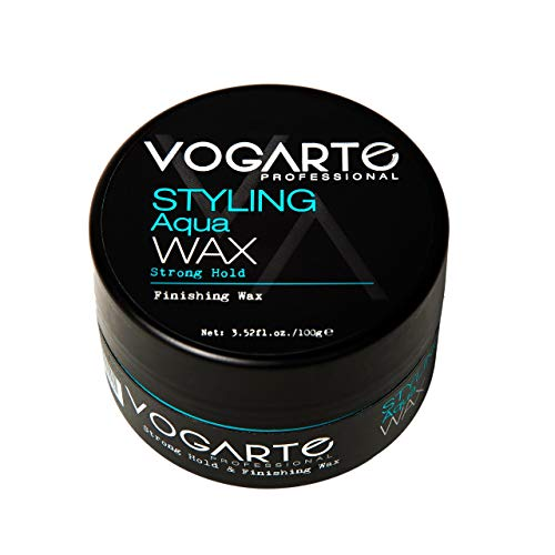 VOGARTE Hair Styling Aqua Wax for Men, Strong Hold & Shiny Finish, 3.52 oz