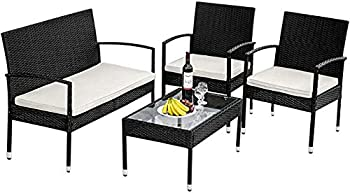 4-Pieces Teeker Rattan Patio Wicker Conversation Furniture Set