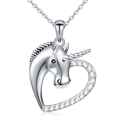 Sterling Silver Forever Love Unicorn in Heart Pendant Necklace for Women Girl, Rolo Chain 18