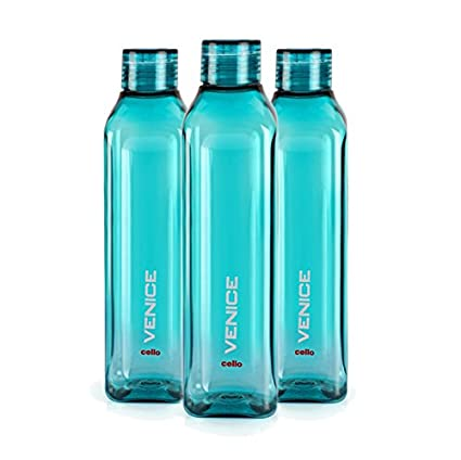 65ace905033 Buy Cello Venice Plastic Water Bottle, 1 Litre, Set of 3, Green Online at  Low Prices in India - Amazon.in