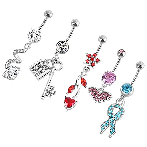 Belly Dangle Curved (5Pcs Silvery Belly Button Rings Dangle Surgical Steel for Women Navel Rings Curved Barbell Body Jewelry Piercing14G (Silvery4 Colorful gems 14G=1.6mm))