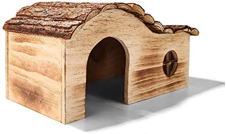 IQQI Hamster Casa Natural Hecho A Mano De Pequeños Animales Casa De Madera, Nido De Conejillo De Indias De Juegos Ambiental,L