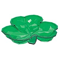 "Lucky Irish Green Saint Patrick's Day Small Shamrock Shaped Bowl Party Tableware, Plastic, 8"" x 8"""