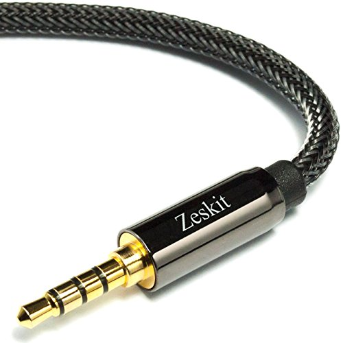 Zeskit 4' Audio Cable — 3.5 mm, Braided Nylon Stereo Audio Cable (Male to Male)