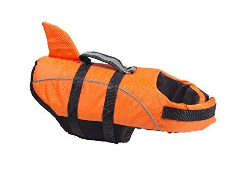 Miniwild Dog Reflective Life Jacket Shark Style Swimming Vest with Adjustable Belts (Color : Orange, Size : XS) by Miniwild