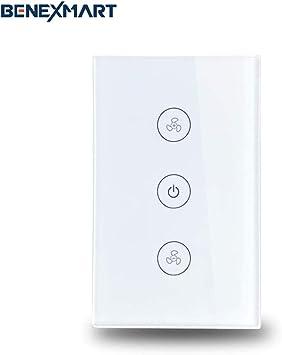 WiFi - Interruptor de pared para ventilador de techo compatible con Amazon Alexa WiFi APP temporizador de velocidad, control de velocidad, regulador de velocidad, interruptores de pared para el hogar: Amazon.es: Bricolaje