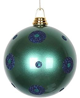 6 IN AQUA GLITTER CHRISTMAS TREE ORNAMENT DECORATION