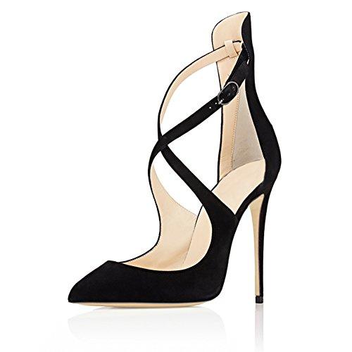 MERUMOTE - Zapatos de vestir de Material Sintético para mujer Schwarz-Faux Wildleder