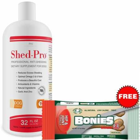 Pet Health Solutions Shed Pro for Dogs – Vitamins, Minerals, Natural Oils – Moisturized Skin and Shiny Coat – Control Normal Shedding – Supplement for Healthy Skin – 24 fl oz
