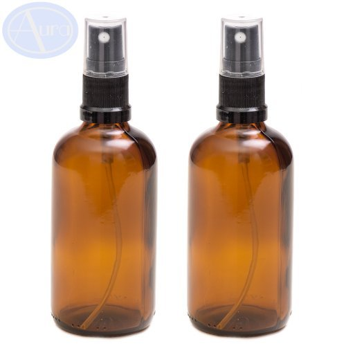 PACK of 2 - 100ml AMBER Glass Bottles with Black ATOMISER Sprays. Essential Oil / Aromatherapy Use by Aura Essential Oils