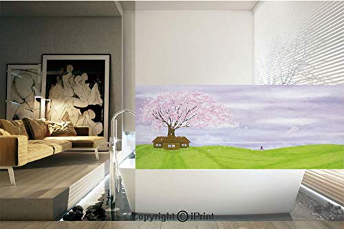 Decorative Privacy Window Film/Single House by Blooming Spring Tree and Little Girl with Kite Idyllic picture/No-Glue Self Static Cling for Home Bedroom Bathroom Kitchen Office Decor Lime Green Lilac