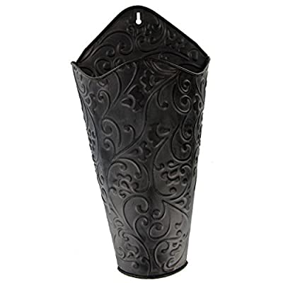 "Everydecor 16 3/4"" Black Scroll Wall Container: Home & Kitchen"