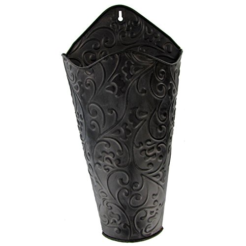 """Everydecor 16 3/4"""" Black Scroll Wall Container"""