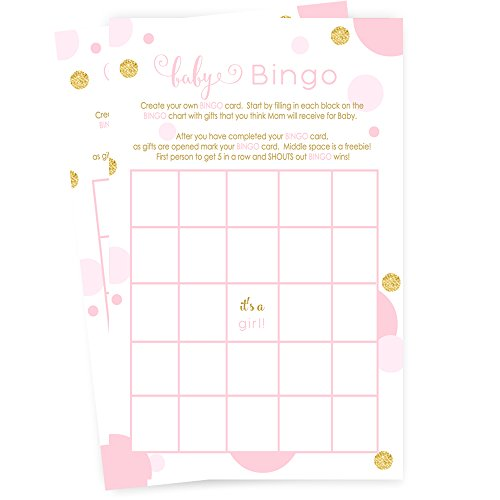 Pink and Gold Baby Shower Bingo Game Card (25 (Personalized Bingo Games)