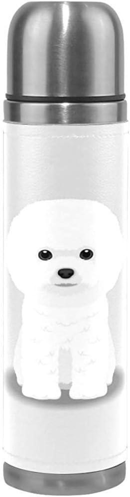 Kris.D Aislamiento Térmico, Bichon Frise Puppy Botella De Agua De Acero Inoxidable para Niños Adultos, Mascotas Animales Deportes Taza De Café Taza Cubierta De Cuero Genuino 500ml