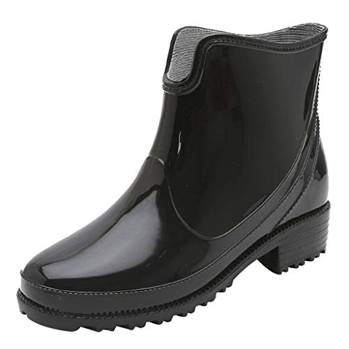 Funnygals Short Leg Half-Height Wellies Easier On & Off Good for Wider Calf Fitting Non-Slip Rain Chelsea Boots Black