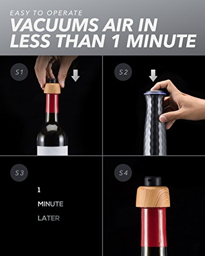Electric Wine Saver Stopper Set: Mumba Wine Vacuum Sealer with Accessories - Automatic Air Seal Pump Machine and 4 Reusable Stoppers - Bottle Preserver Wine Accessory Kit for Men/Women Wine Lovers by Mumba (Image #5)