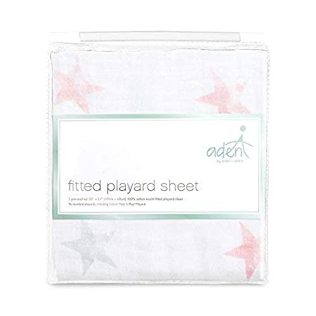 Breathable anais Pack /'n Play Playard Crib Sheet Stars Snug Fit Dusty Super Soft 100/% Cotton Muslin aden by aden