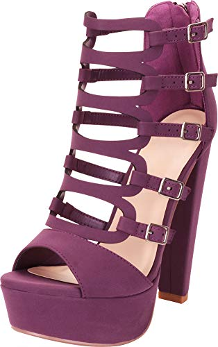 Cambridge Select Women's Open Toe Cutout Strappy Buckle Chunky Platform High Heel Sandal,8.5 B(M) US,Purple NBPU (Platform Stripper)