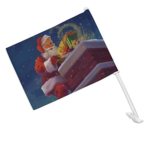 (GRAPHICS & MORE Christmas Holiday Santa Going Down The Chimney Car Truck Flag with Window Clip On Pole Holder - Right Passenger Side)