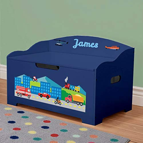 DIBSIES Personalized Modern Expressions Toy Box (Personalized Blue with Cars, Trucks, Planes, and Trains)