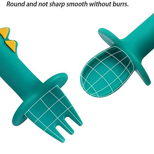 Clacce Silikon Kinderbesteck, Babybesteck Gabel und Löffel BPA frei, einfach zu reinigen, Beißring zum Zahnen Beißspielzeug für Babys und Kinder (Grün)