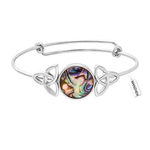 MANZHEN Expandable Adjustable Transparent Abalone Shell Triple Celtic Knot Bangle Bracelets for Women (silver) (Celtic Bracelet)