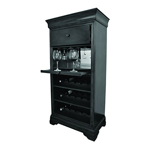 RAM Game Room Bar Cabinet, w/Wine Rack, Black