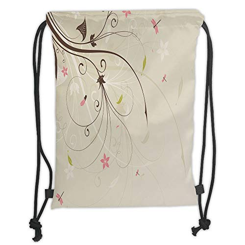 New Fashion Gym Drawstring Backpacks Bags,Dragonfly,Spring Field Bouquet Shabby Chic Abstract Blossom Greenland Graphic Art Decorative,Tan Brown Light Pink Soft Satin,Adjustable S