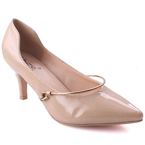 on Evening Detailing UK Metallic Toe 3 Fancy Glossy Heel Courts Prom Stiletto Beige Nia Unze Slip 8 Women Ladies Size Dinner Pointed fYO7q