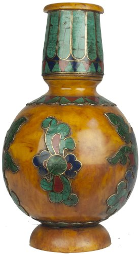Amber Dust Vase with Inlay Flowers - Amber Dust by Exotic India