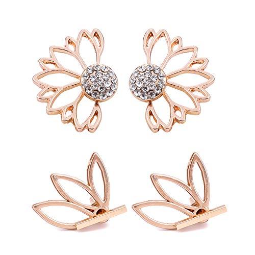 cd6acfc42f7c6 SUMMER LOVE Lotus Flower Earrings Set for Women Fashion Crystal Simple Chic  Stud Earrings